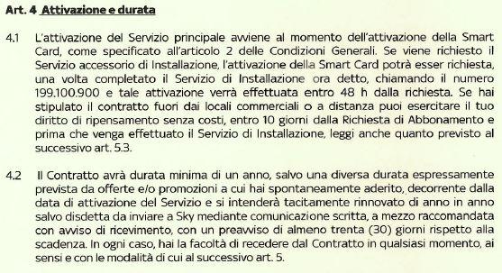 carta dei servizi sky punto 4