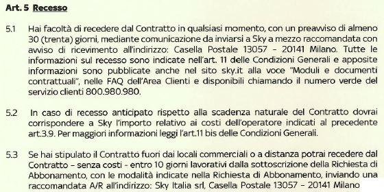 carta dei servizi sky punto 5