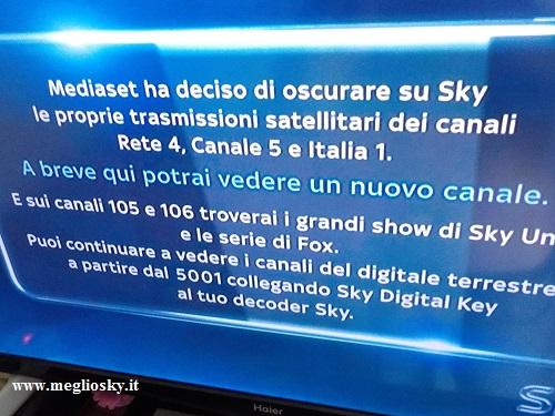 mediaset oscura i canali sul decoder Sky