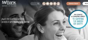 IWBank regala 12 mesi di Sky