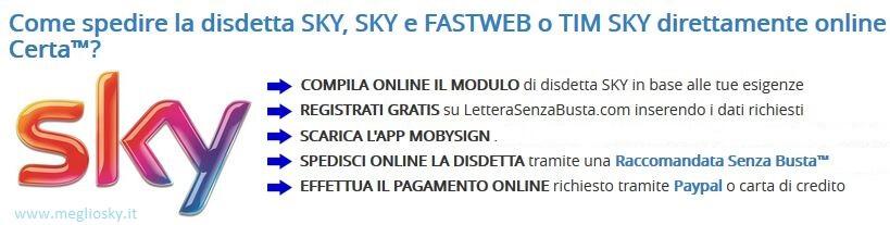 come fare disdetta sky online