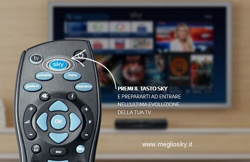tasto sky sul telecomando attiva la nuova Home Page MY Sky