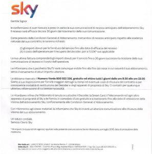 Risposta Sky alla raccomandata di recesso