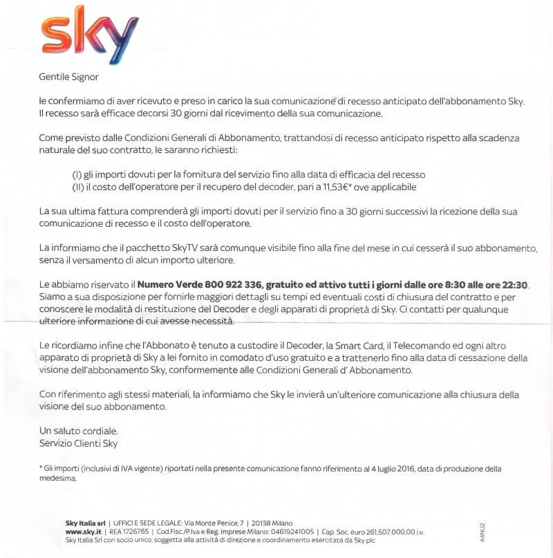 Sky risponde così alla raccomandata di recesso