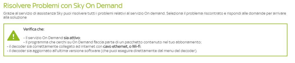 risolvere problemi con Sky On Demand