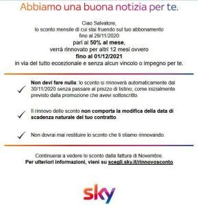 Sky rinnova per un anno gli sconti attivi